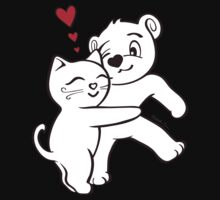 Cat Loves Bear Hug T-Shirts, Hoodies, Kids Clothes, and Stickers One Piece - Short Sleeve
