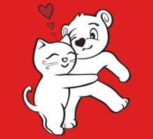 Cat Loves Bear Hug T-Shirts, Hoodies, Kids Clothes, and Stickers Kids Clothes
