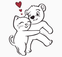 Cat Loves Bear Hug T-Shirts, Hoodies, Kids Clothes, and Stickers Kids Tee