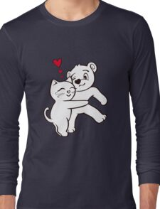 Cat Loves Bear Hug T-Shirts, Hoodies, Kids Clothes, and Stickers Long Sleeve T-Shirt