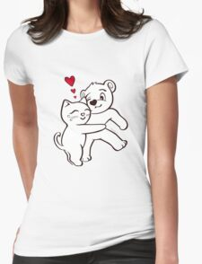 Cat Loves Bear Hug T-Shirts, Hoodies, Kids Clothes, and Stickers Womens T-Shirt