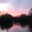 Pink Sunset in Winter over the Passaic River by Jane Neill-Hancock