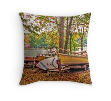 Boats At Rest, Packanack Lake, Wayne NJ USA Throw Pillow
