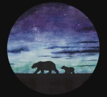 Aurora borealis and polar bears (dark version) Kids Tee