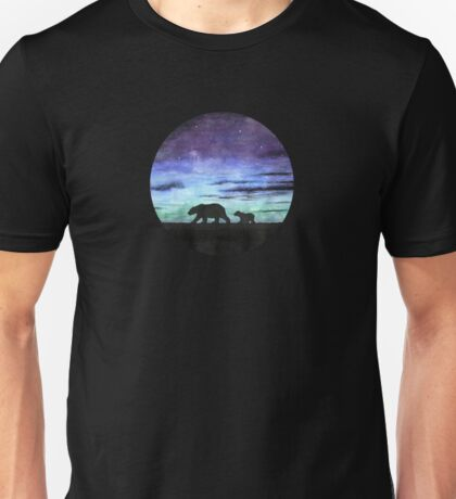 Aurora borealis and polar bears (dark version) Unisex T-Shirt
