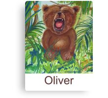 Oliver Bear roaring like a lion Canvas Print