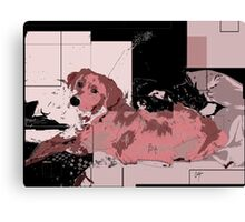 puppy in pink abstract Canvas Print