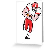 American Football Running Back Ball Cartoon Greeting Card