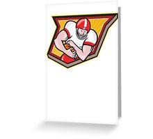 American Football Running Back Run Shield Cartoon Greeting Card