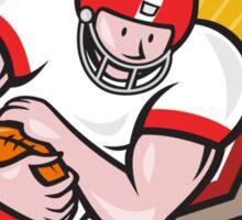 American Football Running Back Run Shield Cartoon Sticker
