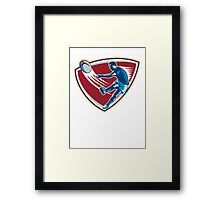 Rugby Player Kicking Ball Shield Woodcut Framed Print