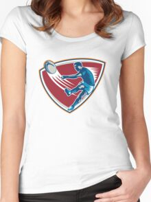 Rugby Player Kicking Ball Shield Woodcut Women's Fitted Scoop T-Shirt