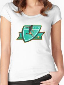 Rugby Player Kicking Ball Shield Retro Women's Fitted Scoop T-Shirt