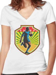 Rugby Player Running Ball Shield Retro Women's Fitted V-Neck T-Shirt