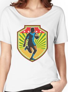 Rugby Player Running Ball Shield Retro Women's Relaxed Fit T-Shirt