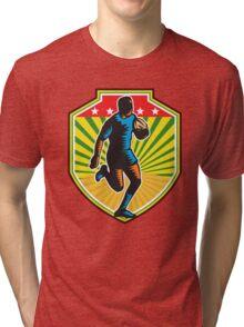 Rugby Player Running Ball Shield Retro Tri-blend T-Shirt