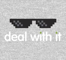 deal with it (white text) Kids Clothes