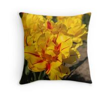 Showy Sunny Yellow Tulips Throw Pillow