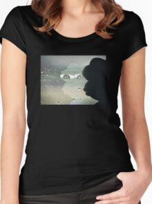Pepe The Sad Frog Rainy Reflection Women's Fitted Scoop T-Shirt