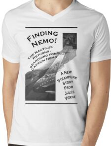 Finding Nemo, Jules Vernes New Steampunk Book Mens V-Neck T-Shirt