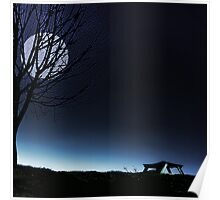 Moonlit Bench Poster