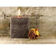 black candle and faded rose Photographic Print