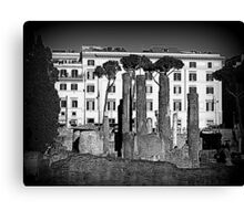 Rome, ruins with buildings in the background Canvas Print