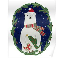 Polar bear with Christmas tree Poster