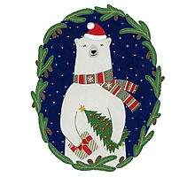 Polar bear with Christmas tree Photographic Print