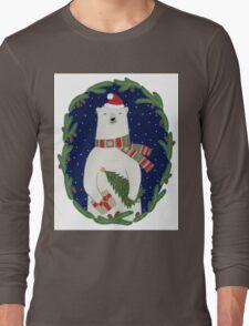 Polar bear with Christmas tree Long Sleeve T-Shirt