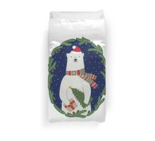 Polar bear with Christmas tree Duvet Cover