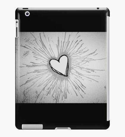 Black and White Exploding Heart iPad Case/Skin