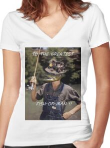 Fish-Or-Man? Women's Fitted V-Neck T-Shirt