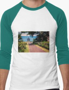 Walkway To Cape Meares Lighthouse Men's Baseball ¾ T-Shirt
