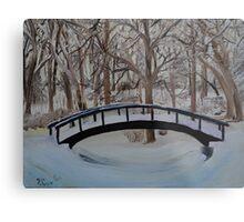 Snow Covered Bridge in the Woods Metal Print