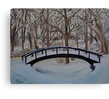Snow Covered Bridge in the Woods Canvas Print