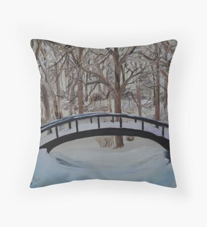 Snow Covered Bridge in the Woods Throw Pillow