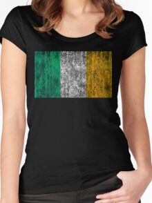 distressed irish flag Women's Fitted Scoop T-Shirt