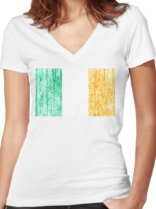 distressed irish flag Women's Fitted V-Neck T-Shirt