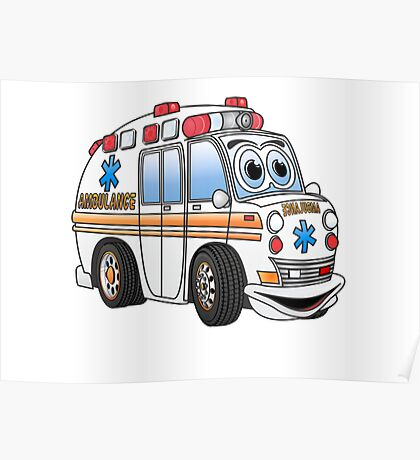 Cartoon Ambulance Poster