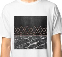 Elegant Rose Gold Triangles & Black & White Marble Classic T-Shirt