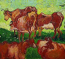 'Les Vaches' by Vincent Van Gogh (Reproduction) by Roz Barron Abellera