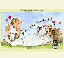 Funny Valentine's Day Cards Love Music Wine by Sagar Shirguppi