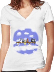 Cats in a tree Women's Fitted V-Neck T-Shirt