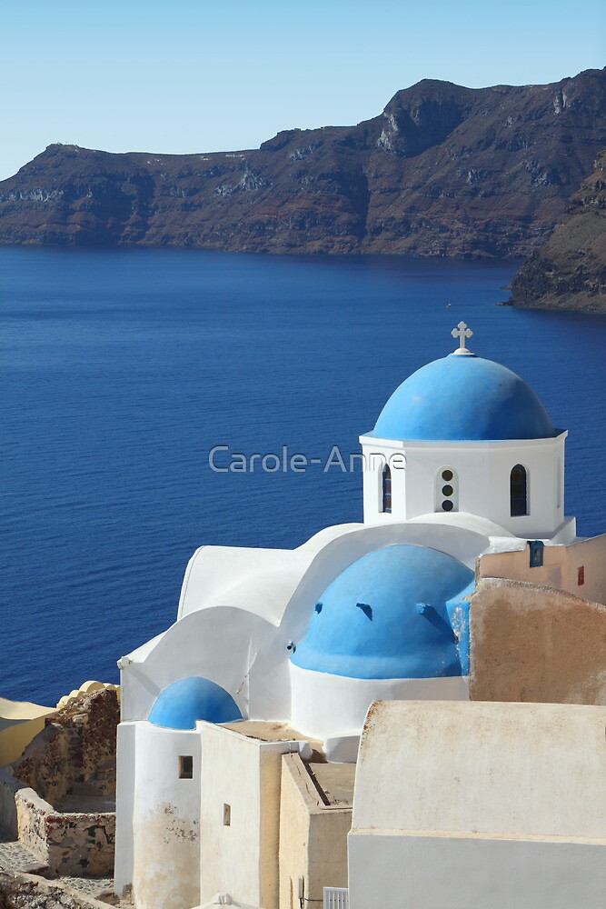 Churches in Oia, Santorini by Carole-Anne