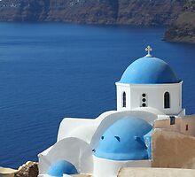 Churches in Oia, Santorini by Carole-Anne