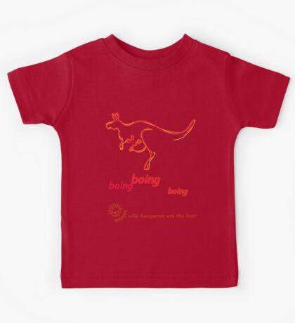 Boing boing boing kangaroo hopping orange Kids Tee