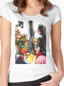 Smash 4 Cloud Reveal Illustration Women's Fitted Scoop T-Shirt