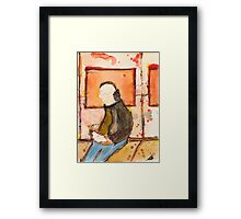 Icon of casual man with ipad in the underground Framed Print
