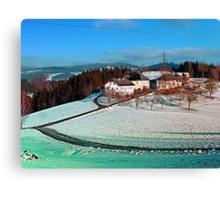 Village scenery in winter wonderland   landscape photography Canvas Print